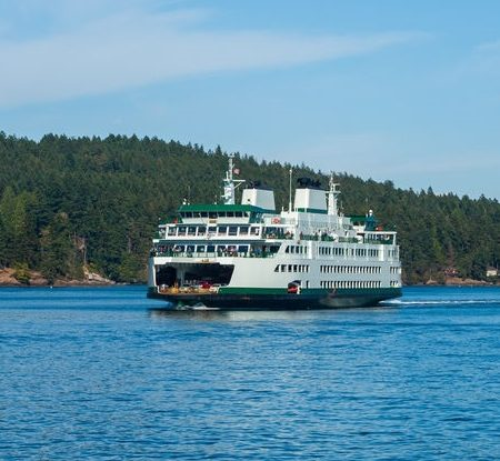 Ferry Boat in the Puget Sound in Washington State USA